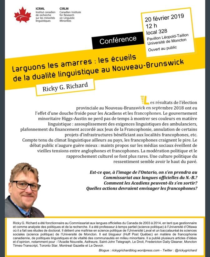 Larguons les amarres: les écueils de la dualité linguistique au N.-B. (Conférence publique)